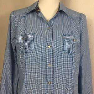 Old Navy Size M Blue White Check Pearl Snap Shirt